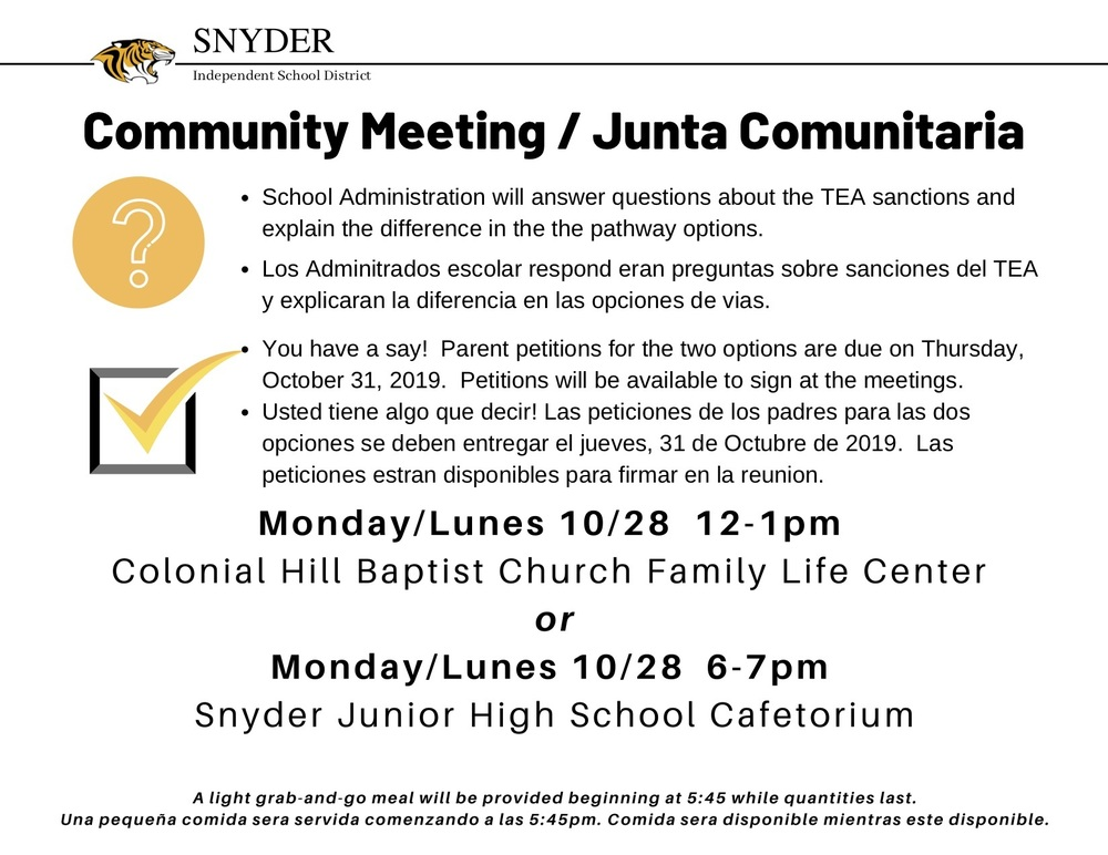 Community Meeting / Junta Comunitaria