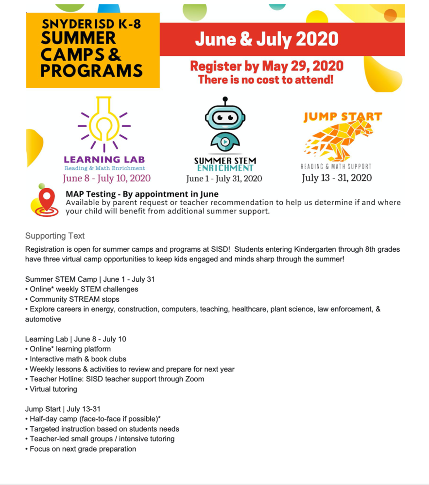 K-8 VIRTUAL SUMMER CAMP