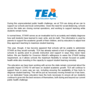 TEA Announces STAAR Testing Waiver
