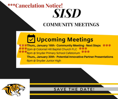 Community Meeting Cancelation Notice