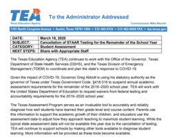 TEA Commissioner Mike Morath  Releases Official Statement On STAAR/EOC