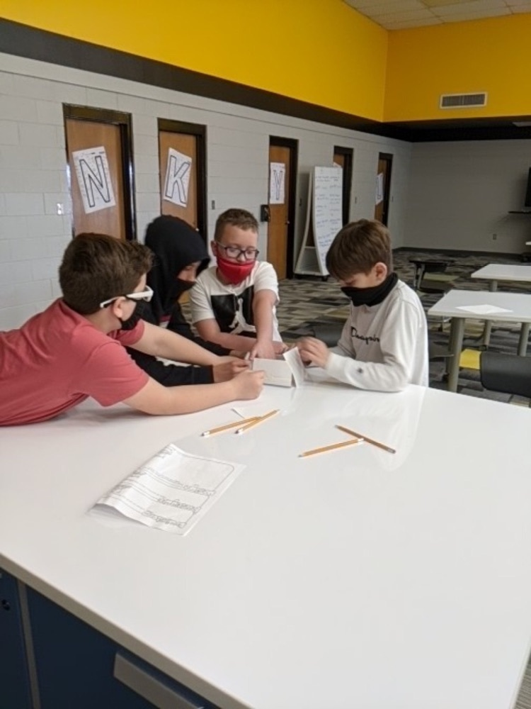students working together on STEM project