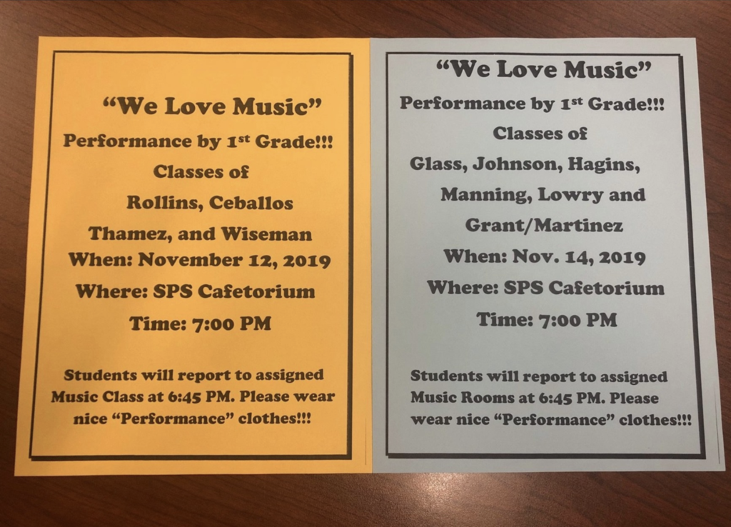 1ST GRADE MUSIC PROGRAM INFO
