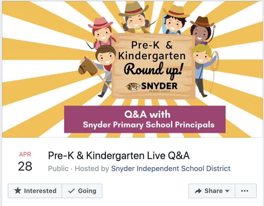 Calling all incoming Pre-K and Kinder parents! Roundup up your students and join us for a live Q&A tomorrow at noon! Follow us on FaceBook at https://www.facebook.com/SnyderIsd/